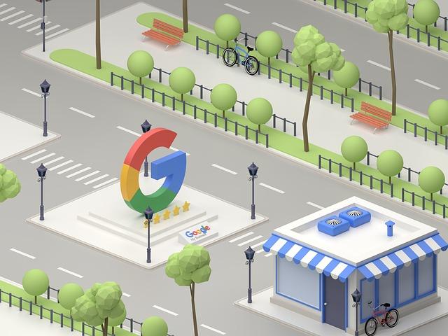 Velké G společnosti GOogle na výstavce v kresleném městě
